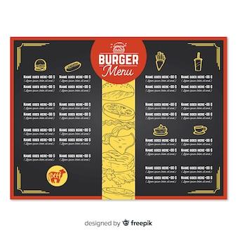 Modèle de menu de restaurant burger dessiné à la main