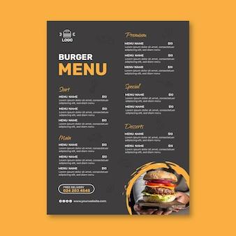 Modèle de menu de restaurant burgers