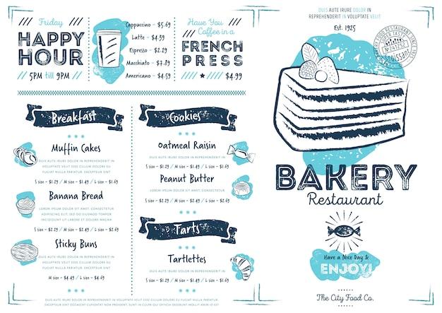 Modèle de menu de restaurant café boulangerie