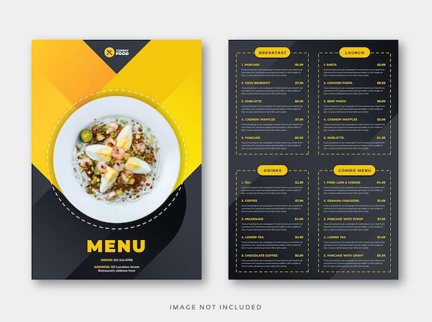 Modèle de menu de restaurant café avec couvercle