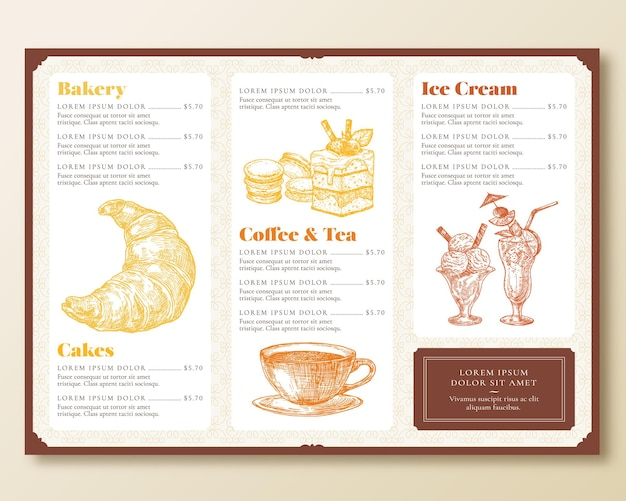 Modèle de menu de restaurant ou de café. disposition de conception de style rétro avec dessiné à la main