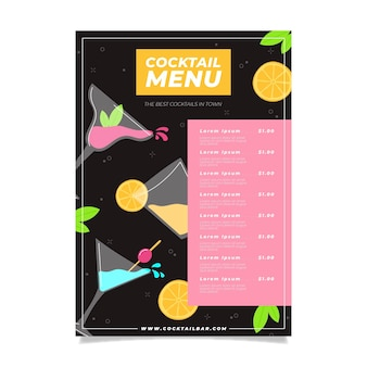 Modèle de menu de restaurant cocktail coloré