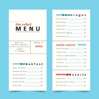 Modèle de menu de restaurant coloré minimaliste