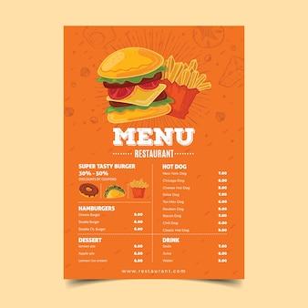 Modèle de menu de restaurant coloré