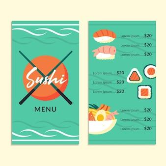 Modèle de menu de restaurant de cuisine asiatique différents types de plats sushis ensembles de rouleaux de poisson frais