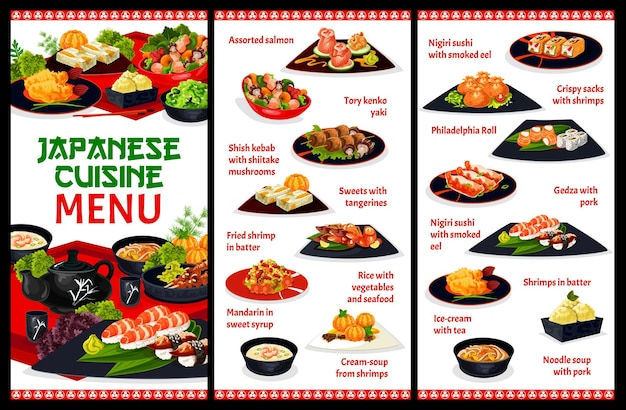 Modèle de menu de restaurant de cuisine japonaise. assortiment de saumon, kenko yaki et shish kebab, mandarine au sirop, soupe de crevettes et nouilles, gyoza, unagi, nigiri et philadelphia roll sushi, vecteur de crème glacée