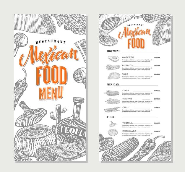Modèle de menu de restaurant de cuisine mexicaine