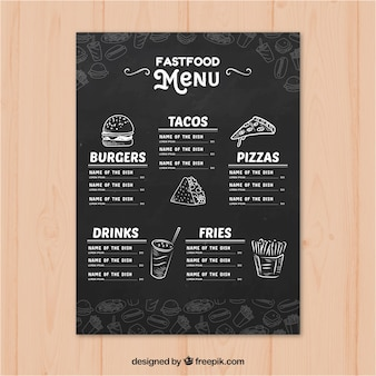 Modèle de menu de restaurant dans un style dessiné à la main