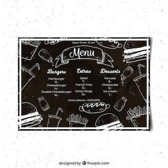Modèle de menu de restaurant dans le style de tableau noir