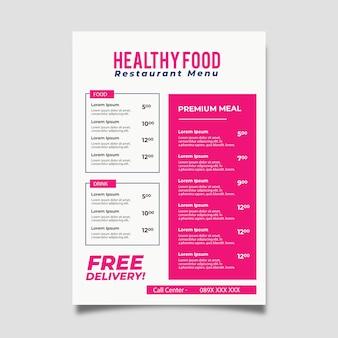 Modèle de menu de restaurant design coloré