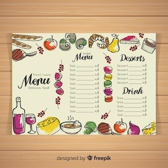 Modèle de menu restaurant dessiné main coloré