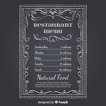 Modèle de menu de restaurant élégant avec style tableau noir