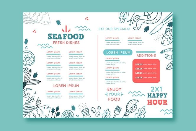 Modèle de menu de restaurant avec éléments dessinés