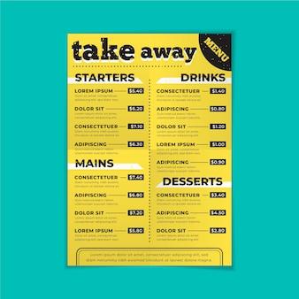 Modèle de menu de restaurant à emporter