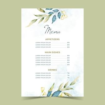 Modèle de menu de restaurant de fleurs aquarelle