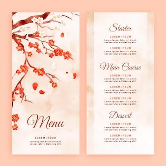 Modèle de menu de restaurant floral aquarelle