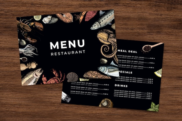 Modèle de menu de restaurant de fruits de mer vecteur