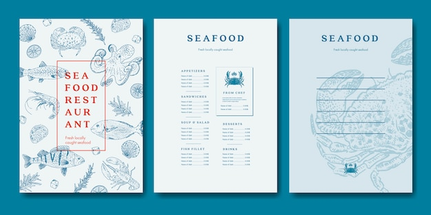 Modèle de menu de restaurant de fruits de mer
