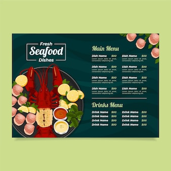 Modèle de menu de restaurant de fruits de mer