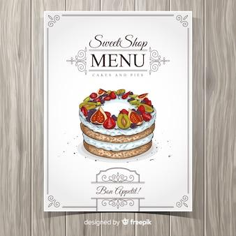 Modèle de menu de restaurant de gâteau réaliste