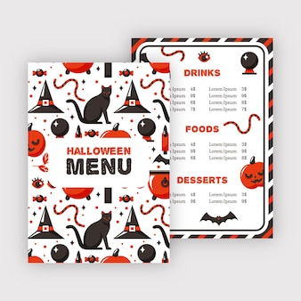 Modèle de menu de restaurant halloween chat noir