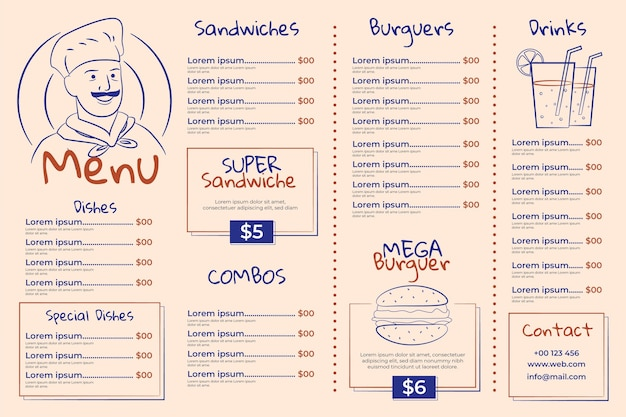 Modèle de menu de restaurant horizontal illustré
