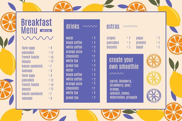 Modèle de menu de restaurant horizontal numérique petit déjeuner