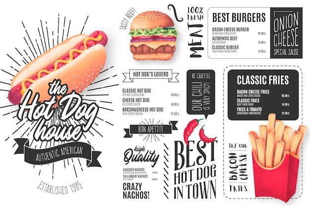 Modèle de menu de restaurant de hot-dog avec illustrations