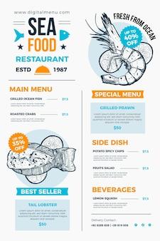 Modèle de menu de restaurant illustré à usage numérique