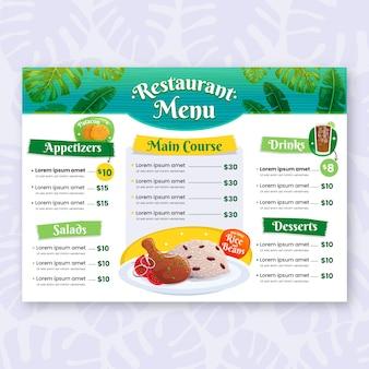 Modèle de menu de restaurant illustré