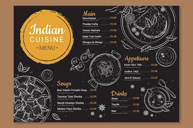 Modèle de menu de restaurant indien traditionnel dessiné à la main
