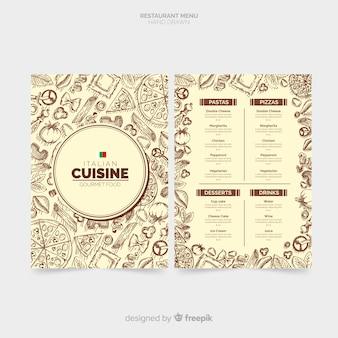 Modèle de menu de restaurant italien dessiné à la main