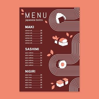 Modèle de menu de restaurant japonais