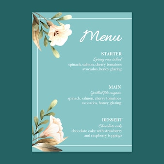 Modèle de menu de restaurant de mariage floral