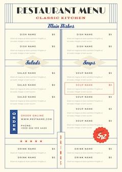Modèle de menu de restaurant minimaliste au format vertical