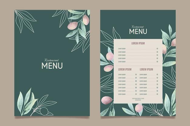 Modèle de menu de restaurant de nourriture saine aquarelle