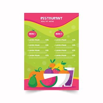 Modèle de menu de restaurant de nourriture saine coloré illustré