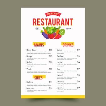 Modèle de menu de restaurant de nourriture saine colorée