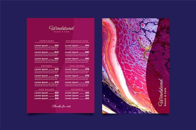 Modèle de menu de restaurant de nourriture saine en marbre