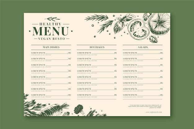 Modèle de menu de restaurant de nourriture saine rétro