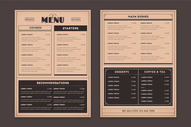 Modèle de menu de restaurant de nourriture saine vintage