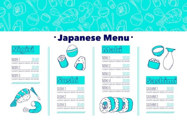 Modèle de menu de restaurant numérique au format horizontal