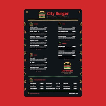Modèle de menu de restaurant numérique noir