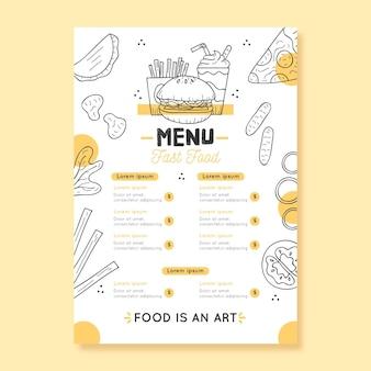 Modèle de menu de restaurant numérique