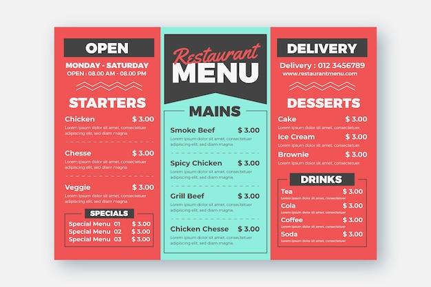 Modèle de menu de restaurant et d'option de livraison