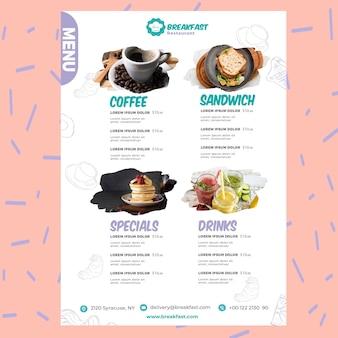 Modèle de menu de restaurant de petit déjeuner savoureux