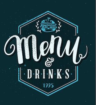 Modèle de menu de restaurant pinceau de stylo calligraphie dessiné à la main