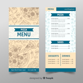Modèle de menu de restaurant pizza dessiné à la main