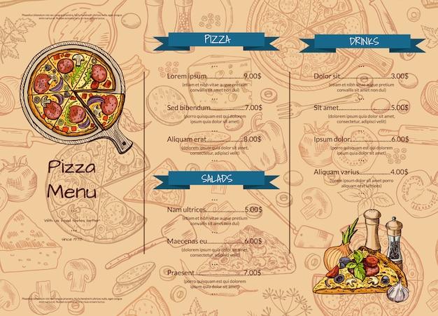 Modèle de menu restaurant pizza italienne avec des éléments colorés dessinés à la main.