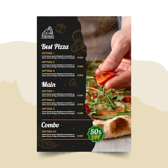 Modèle de menu de restaurant de pizza